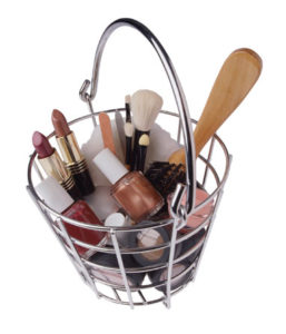 Basket of makeup